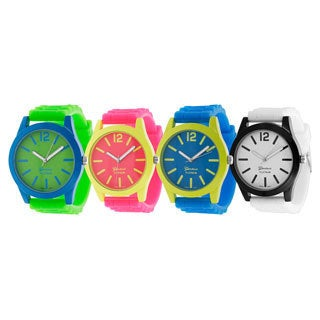 Geneva Platinum Women's Japanese Quartz Neon Pop Silicone Watch