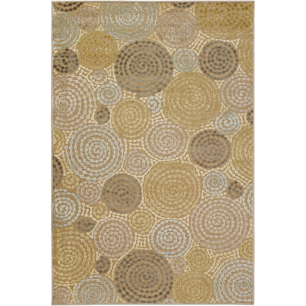 Machine made Baise Green Viscose/Chenille Geometric Circles Rug (2'2 x 3')