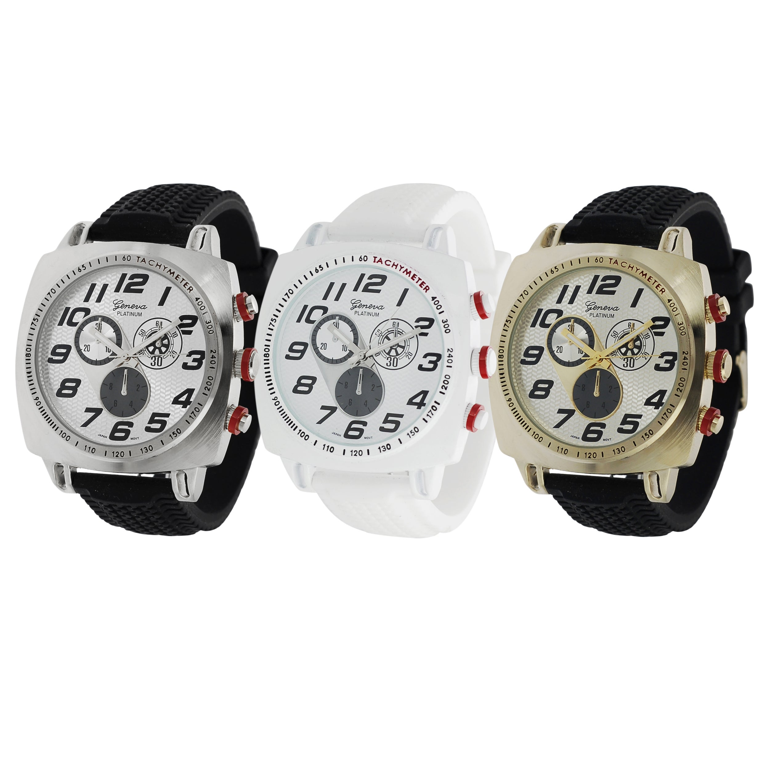 Geneva Platinum Men's Bold Japanese Quartz Chronograph-Style Silicone Watch