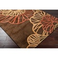 Hand-tufted Brown Floral Contemporary Alpheratz Rug (5' x 8')