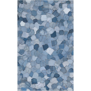 Woven Becrux Denim Blue Wool Rug (5' x 8')