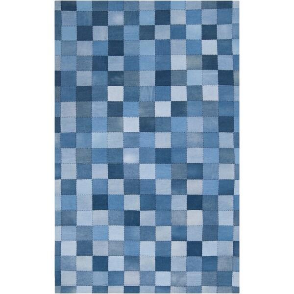 Meticulously Woven Bellatrix Denim Blue Geometric Rug (5' x 8')