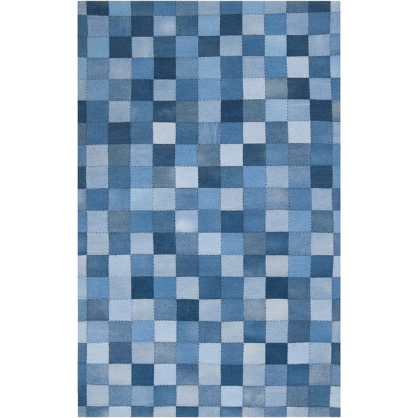 Woven Benetnasch Denim Blue Wool Rug (8' x 11')