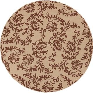 Clearlake Dark Khaki Floral Indoor/Outdoor Rug (7'3 Round)