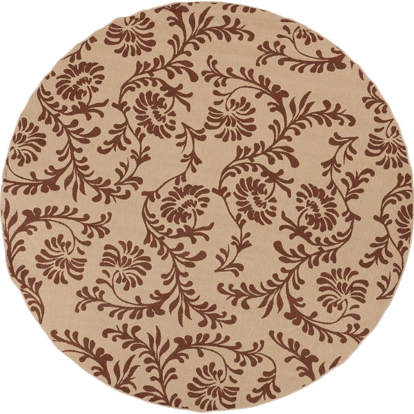 Clearlake Dark Khaki Floral Indoor/Outdoor Rug (7'3 Round)
