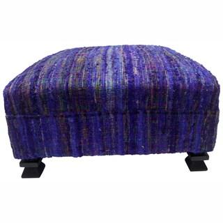 nuLOOM Handmade Casual Living Sari Silk Purple Ottoman Pouf