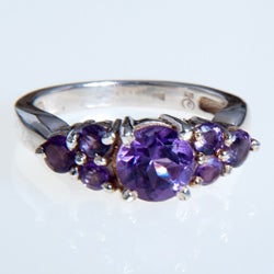 Handmade Sterling Silver Amethyst Ring (India)