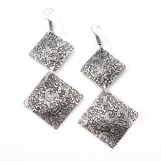 Handmade Silverplate Double Squares Floral Earrings (India)