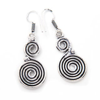 Handmade Silverplate Swirl Earrings (India)