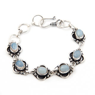 Handmade Silverplate Rainbow Moostone Bracelet (India)