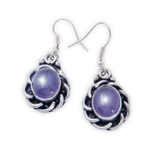 Handmade Silverplate Amethyst Earrings (India)