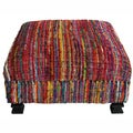 Handmade Casual Living Sari Silk Multi Ottoman Pouf