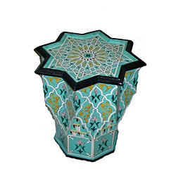Multicolor Handpainted Arabesque Wooden End Table (Morocco)