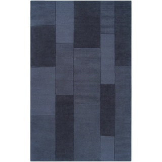 Loomed Dschubba Navy Gray Wool Rug (5' x 8')