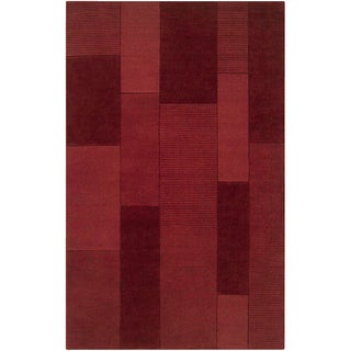 Loomed Elnath Red Wool Rug (5' x 8')