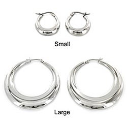West Coast Jewelry Stainless Steel Hollow Hoop Earrings