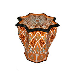 Handpainted Arabesque Wooden Moroccan Star End Table (Morocco)