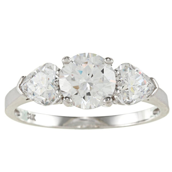 14k Gold 2ct TDW Round and Heart-cut Cubic Zirconia 3-stone Ring