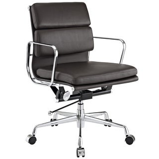 Mid-back Brown Genuine Leather Conference Office Chair