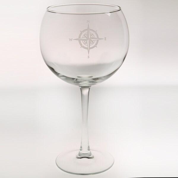 Rolf Glass Compass Rose Balloon 19 ounce (Set of 4)