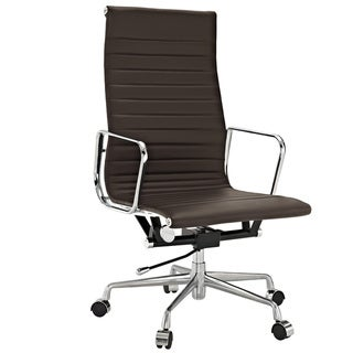 Brown Genuine Leather Ribbed High Back Office Chair