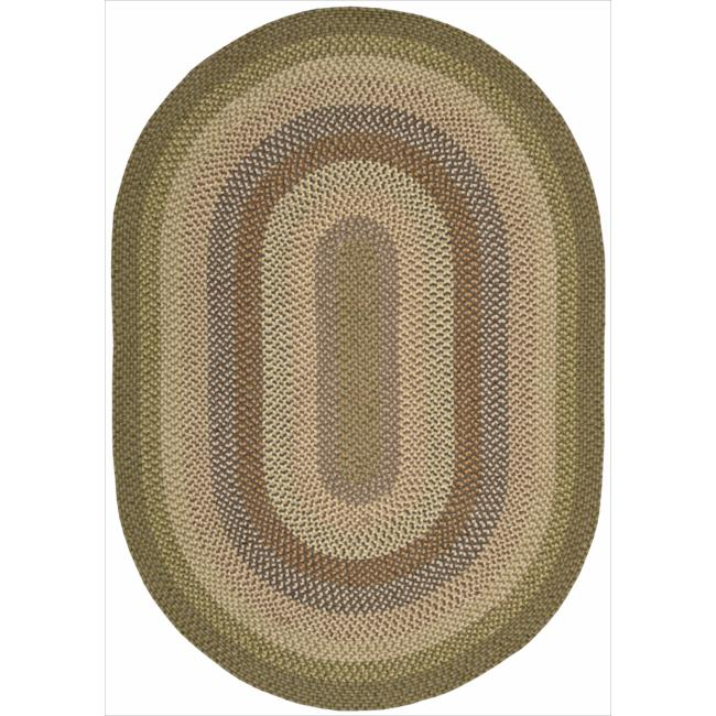 Nourison Hand-woven Craftworks Braided Autumm Multi Rug (7'6 x 9'6) Oval