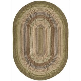 Nourison Hand-woven Craftworks Braided Autumm Multi Rug (7'6 x 9'6) Oval
