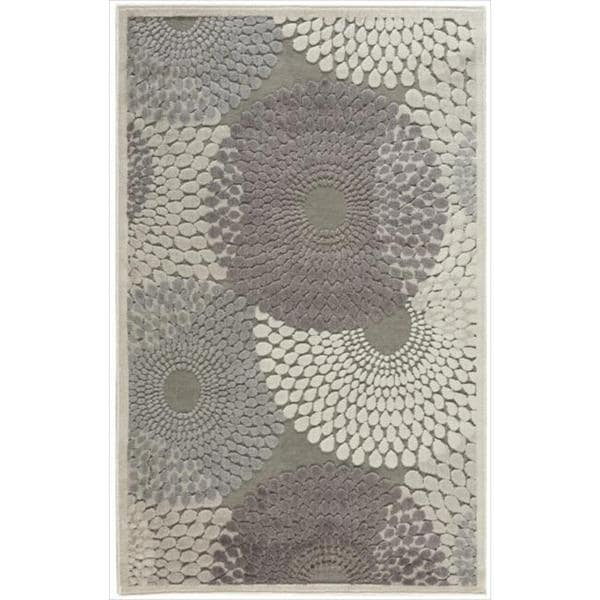 Nourison Graphic Illusions Circular Grey Rug (2'3 x 3'9)