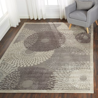 Nourison Graphic Illusions Circular Grey Rug (2'3 x 3'9)