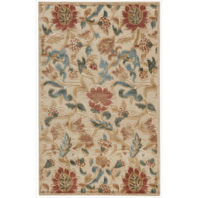 Nourison Graphic Illusions Floral Light Gold Rug (2'3 x 3'9)