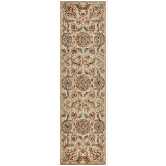 Nourison Graphic Illusions Medallion Beige Multi Color Rug (2'3 x 8')
