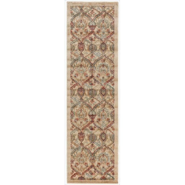 Nourison Graphic Illusions Light Gold Brocade Multi Rug (2'3 x 8')