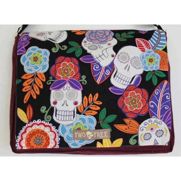 Handmade Medium Black Sugar Skulls and Flowers Canvas Messenger Bag