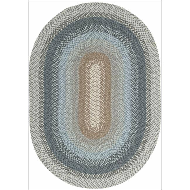 Nourison Hand-woven Craftworks Braided Blue Multi Rug (2'3 x 3'9) Oval