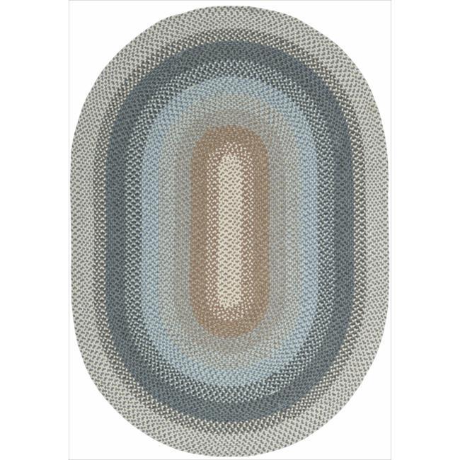 Nourison Hand-woven Craftworks Braided Blue Multi Rug (7'6 x 9'6) Oval