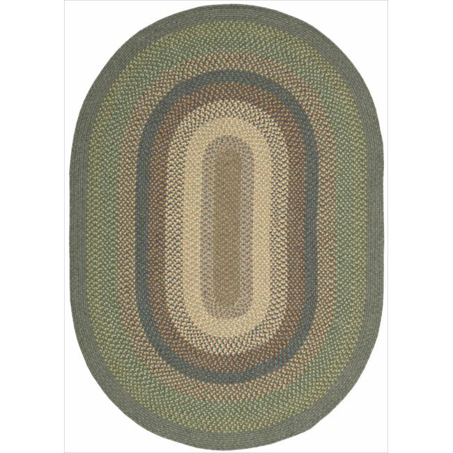 Nourison Hand-woven Craftworks Braided Spruce Multi Rug (7'6 x 9'6) Oval