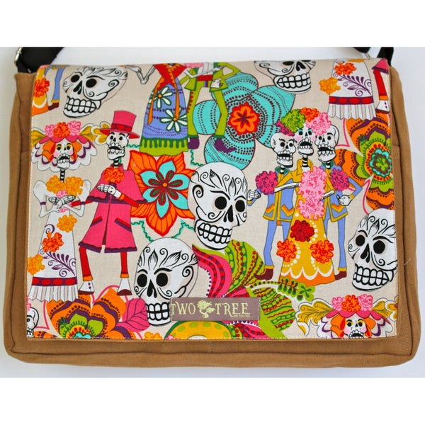 Handmade Medium Tan Day of the Dead Fiesta Messenger Bag