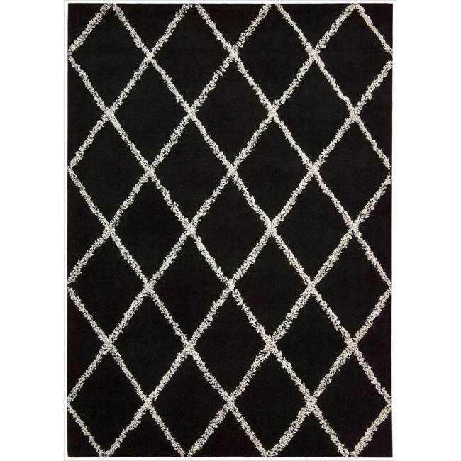 Nourison Joseph Abboud Hand-tufted Monterey Outlined Black & White Diamond Pattern Rug (7'9 x 9'9)