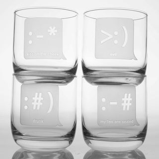 Rolf Glass Txt U Room Tumbler 10 ounce (Set of 4)