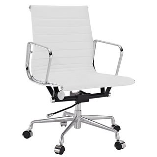 White Genuine Leather Ribbed Mid Back Office Chair