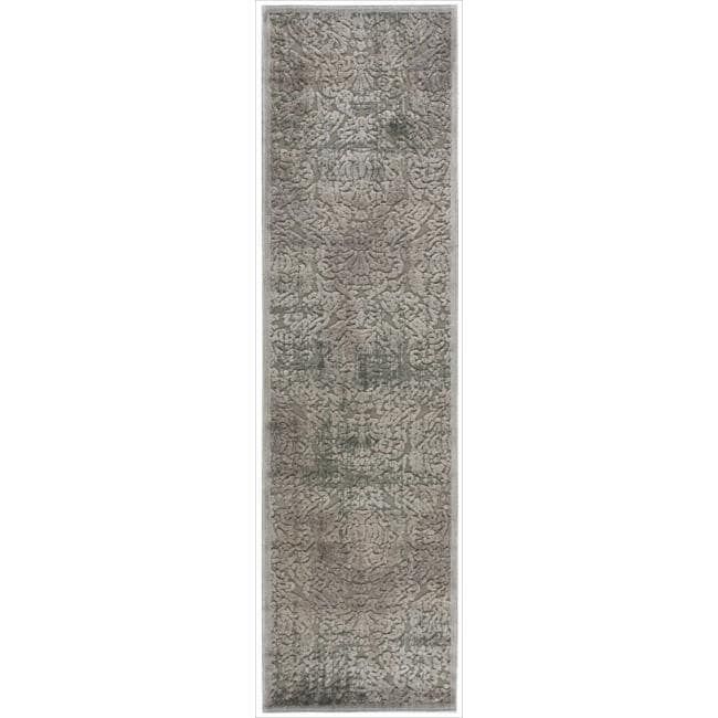 Nourison Graphic Illusions Grey Antique Damask Pattern Rug (2'3 X 8')