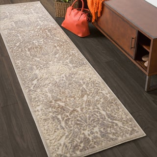 Nourison Graphic Illusions Beige Antique Damask Pattern Rug (2'3 x 8')