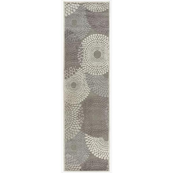 Nourison Graphic Illusions Circular Grey Rug (2'3 x 8')