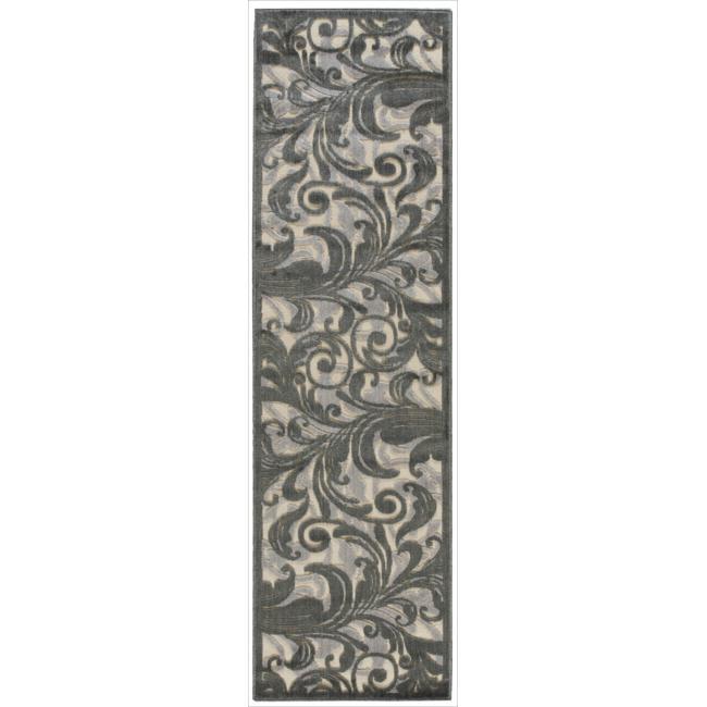 Nourison Graphic Illusions Black Swirl Multi Transitional Rug (2'3 x 8')