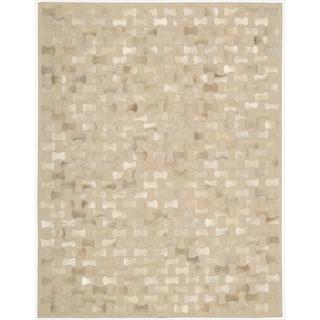 Nourison Joseph Abboud Hand-woven Chicago Cream Geometric Rug (8' x 11')