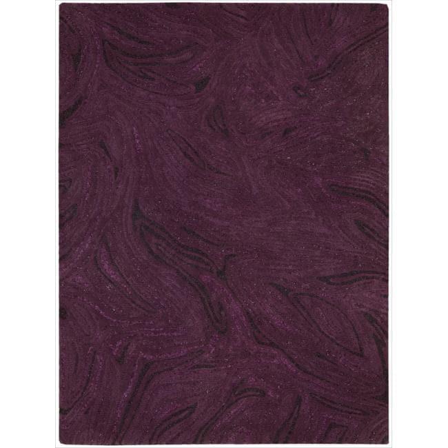 Nourison Joseph Abboud Hand-tufted Modelo Raised Swirl Purple Rug (8' x 11')