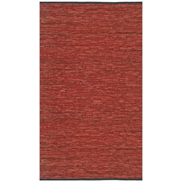 Hand-woven Matador Copper Leather Rug (9' x 12')