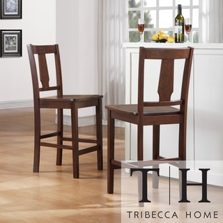 Tribecca Home Laurel Dark Walnut 24-inch Mission Counter Stool (Set of 2)