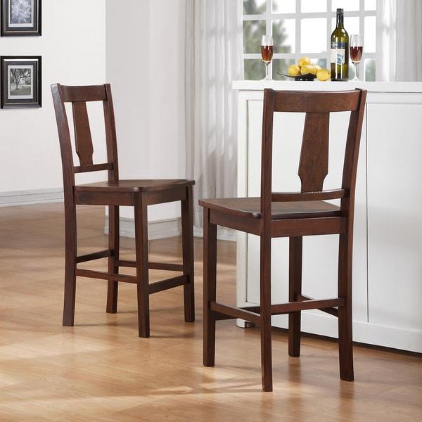 TRIBECCA HOME Laurel Dark Walnut 3-piece Bistro Double Drop-leaf Counter Dining Set