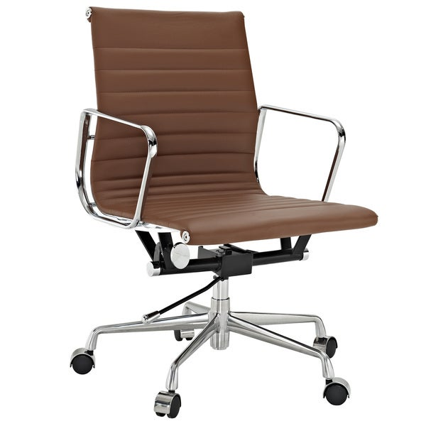Terracotta Genuine Leather Ribbed Mid Back Office Chair
